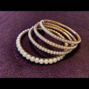4 Gold Pearl Covered Bangle Bracelets